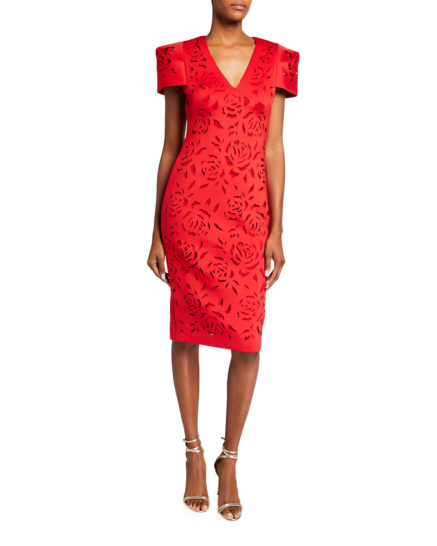 Laser-Cut Floral Scuba Sheath Dress