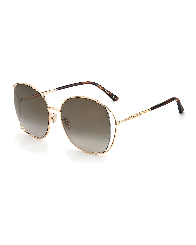 Tinka Oversized Round Stainless Steel Sunglasses