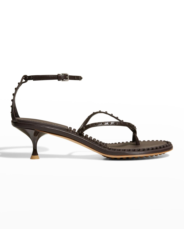 55mm Leather Bubble Crisscross Sandals