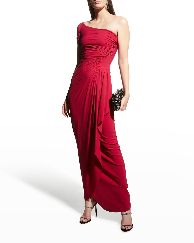 Aleksandrina One-Shoulder Column Gown