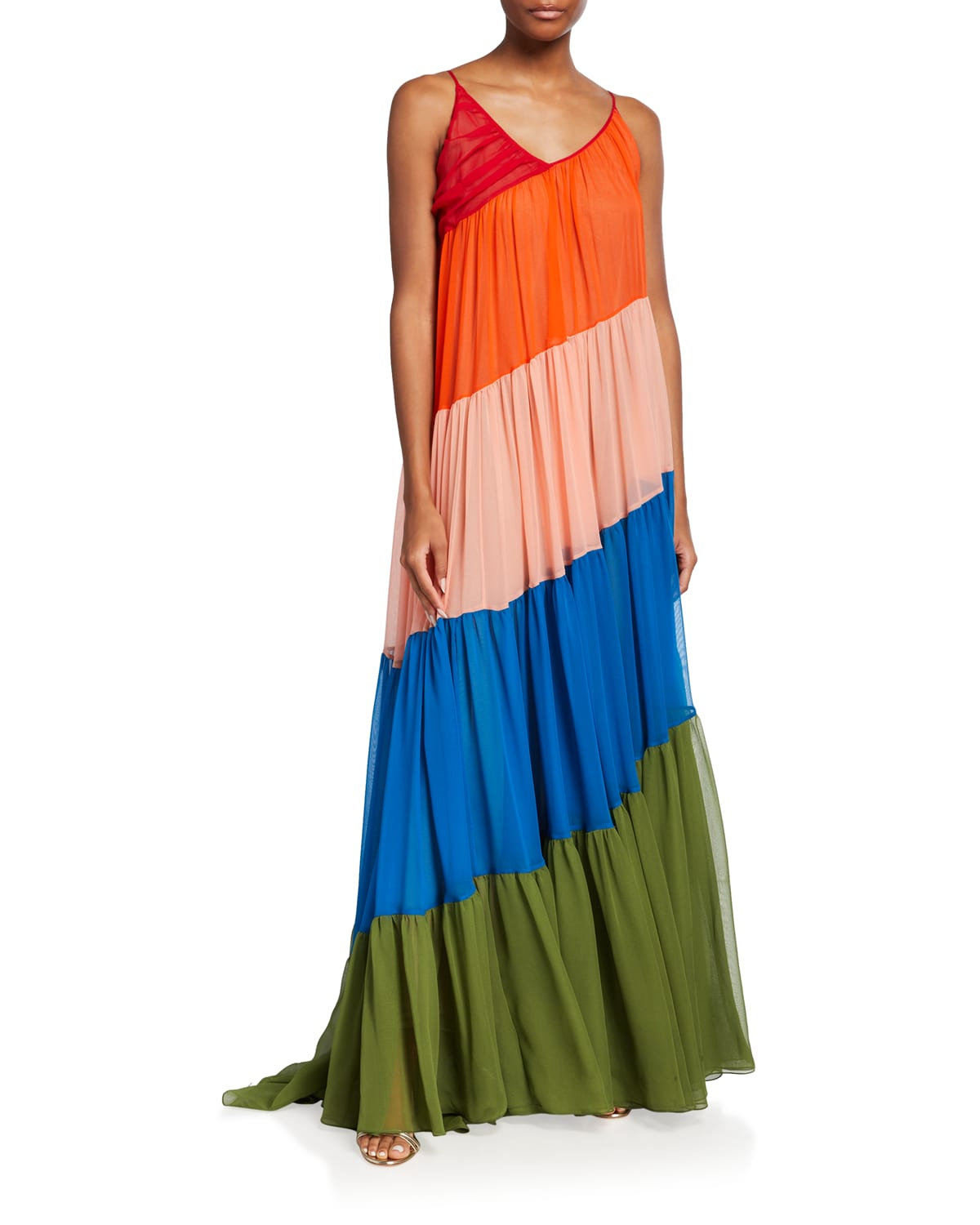 Diagonal Tiered-Colorblock Gown