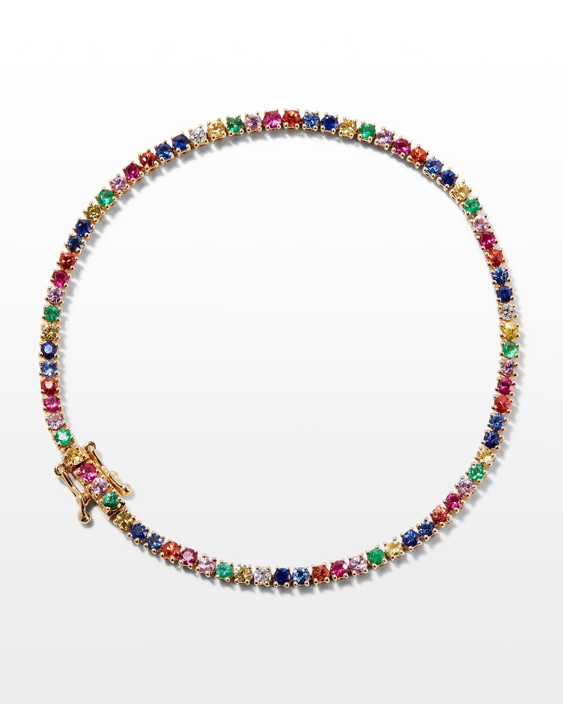 18k Small Multicolor Hepburn Bracelet in Yellow Gold