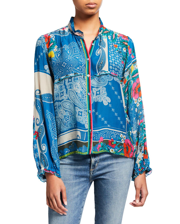 Karla Paisley Button-Up Shirt