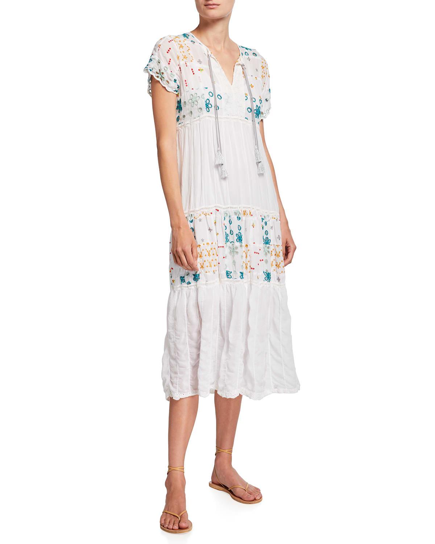 Sarai Embroidered Midi Dress with Slip