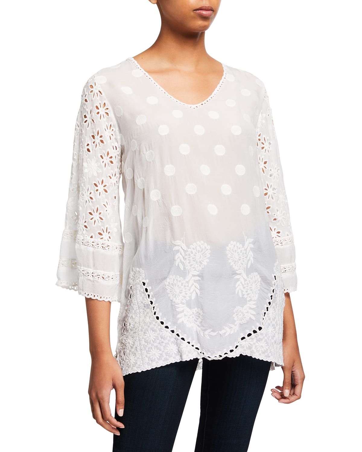 Marve Eyelet Embroidered Top