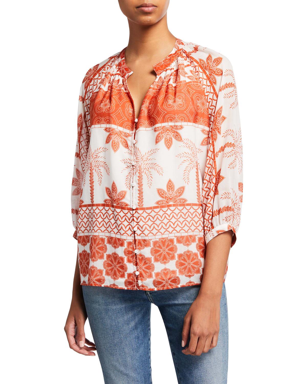 Rhonda Button-Down Printed Blouse