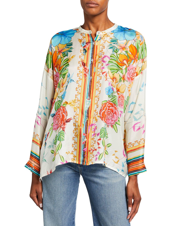 Sabrina Floral Button-Up Silk Habutai Shirt
