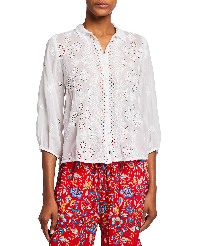 Plus Size Gwen Eyelet Embroidered Collared Shirt
