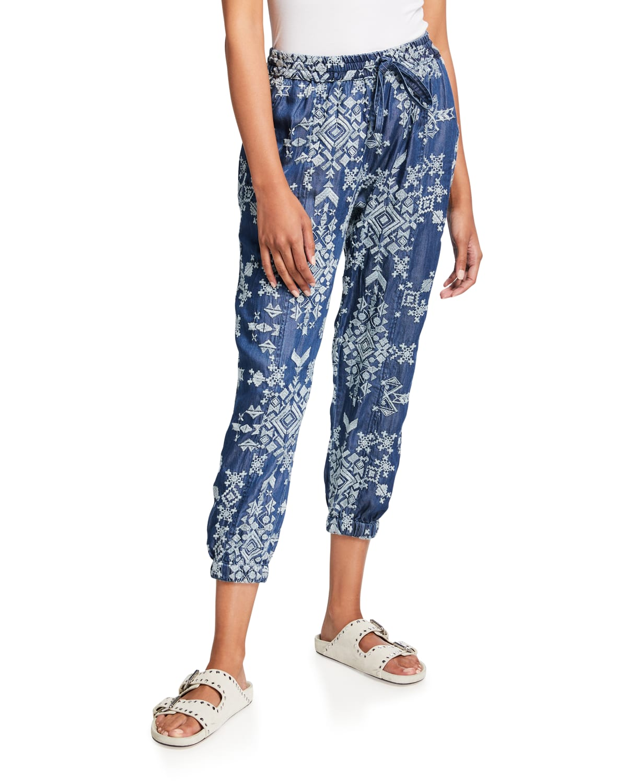 Nina Embroidered Denim Jogger Pants