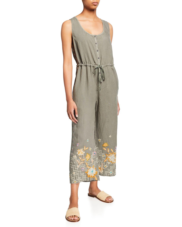 Elia Tie-Waist Sleeveless Linen Jumpsuit