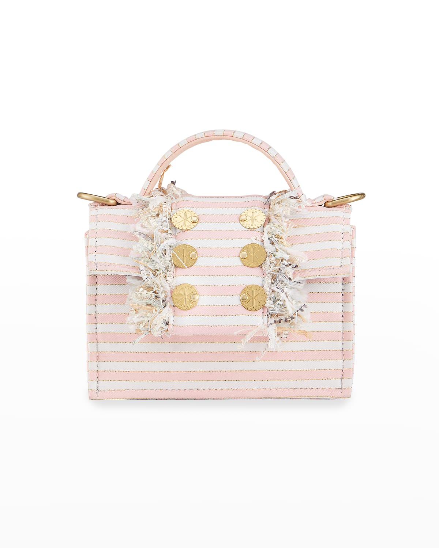 Petite Fringe Striped Top-Handle Bag