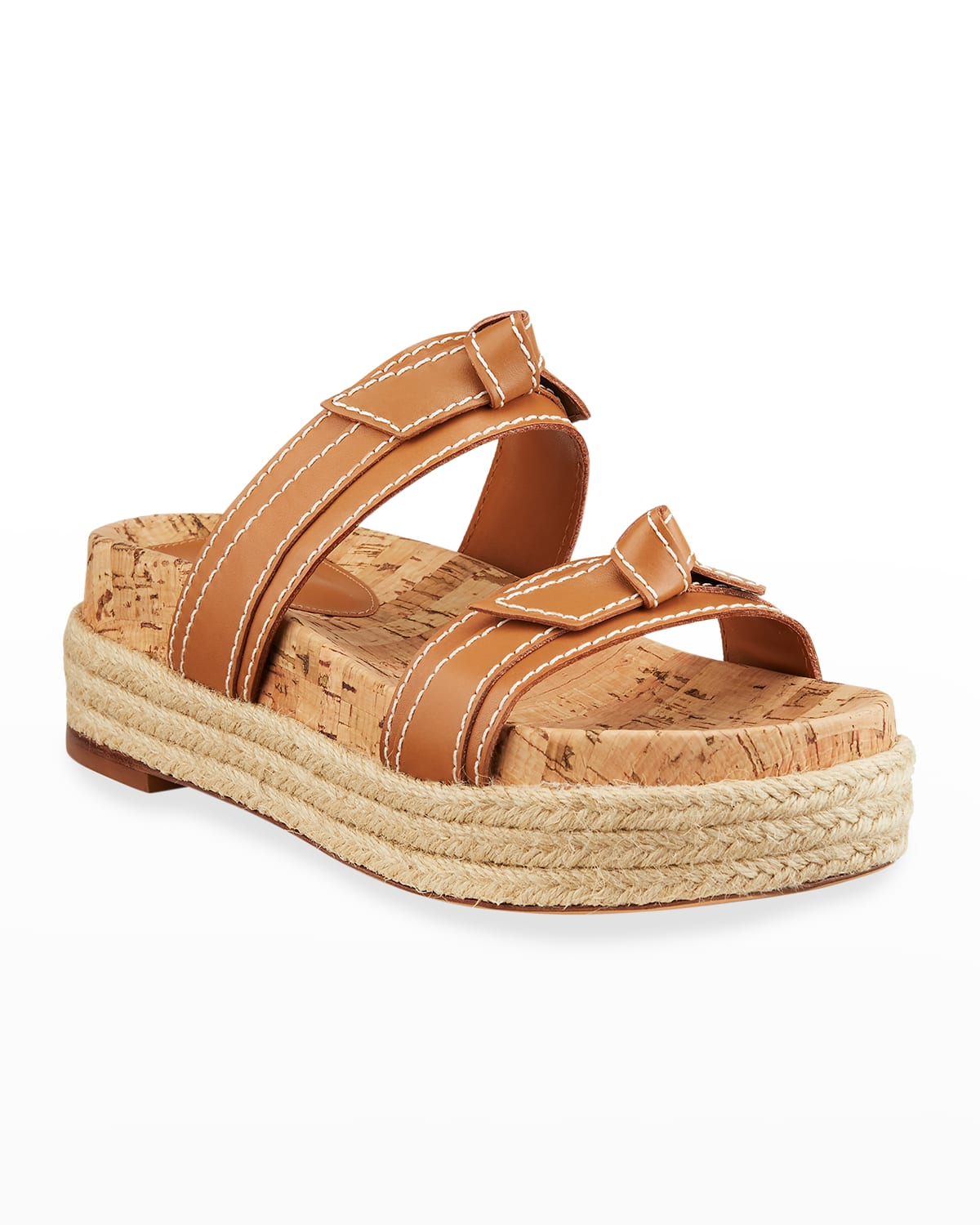Clarita Knotted Bow Slide Espadrille Sandals