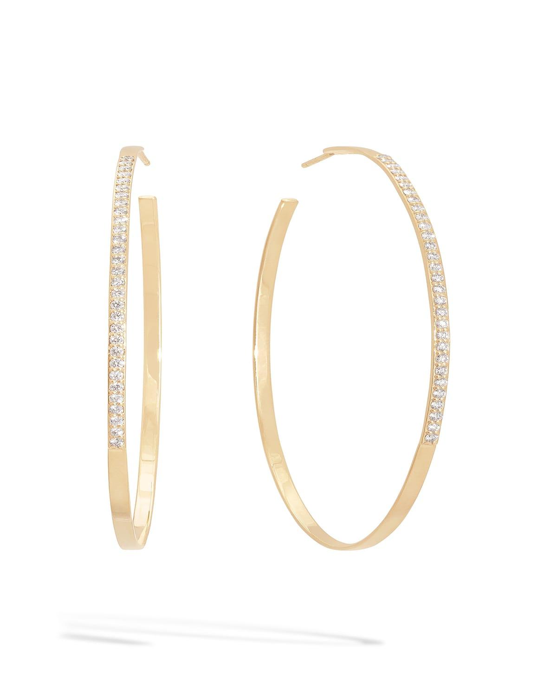 Flawless 14k Gold Diamond-Trim Hoop Earrings