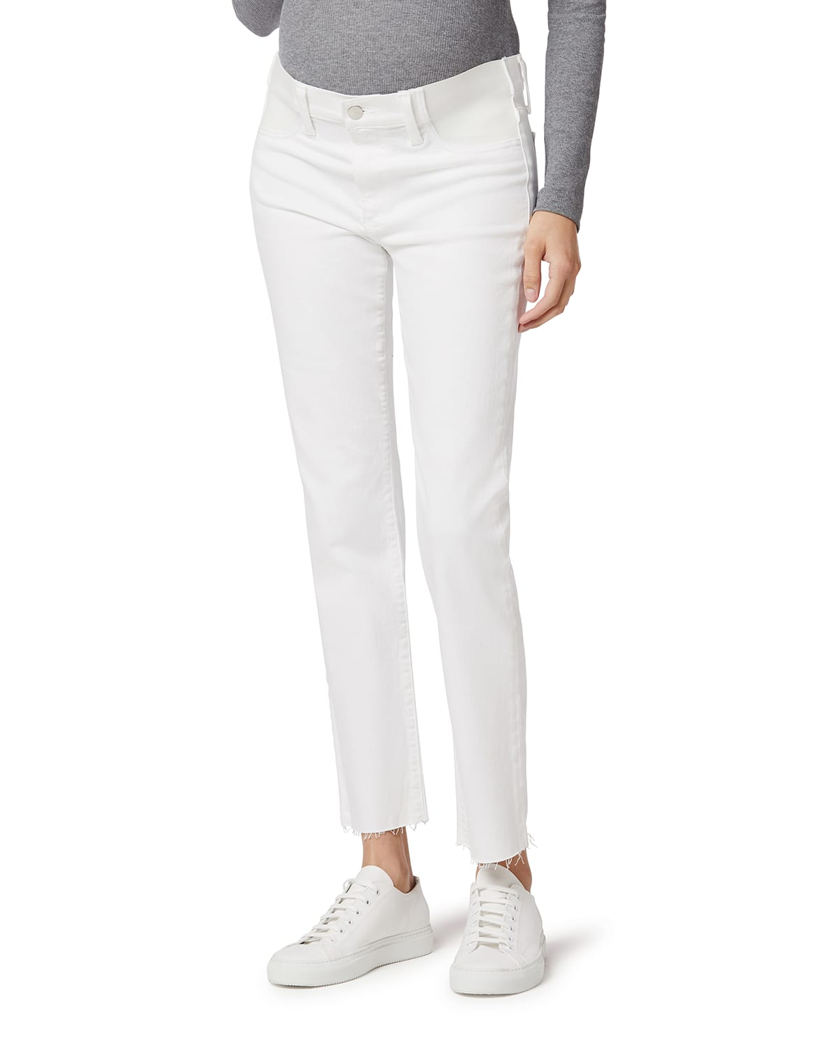 Maternity The Lara Ankle Jeans with Frayed Hem
