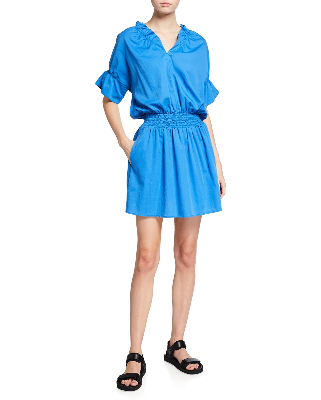 Smocked-Waist Cotton Lawn Dress