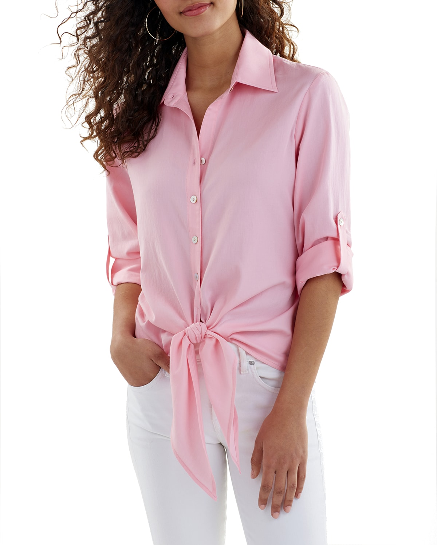 Lindy Collared Tie-Hem Cotton Lawn Top
