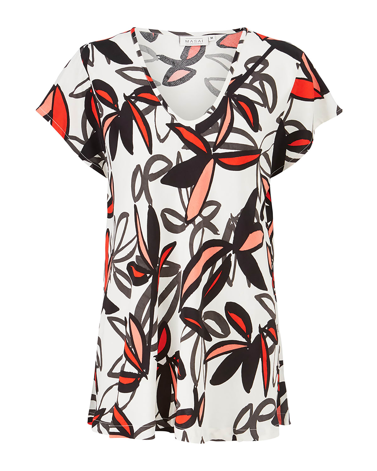 Kallo Floral-Print Wing-Sleeve Top