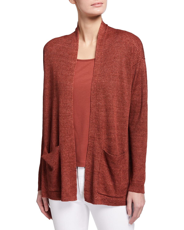 Organic Linen Delave High-Collar Cardigan