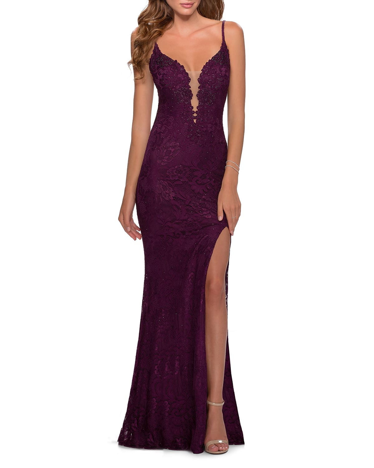 Plunging Floral Lace Gown w/ Thigh Slit
