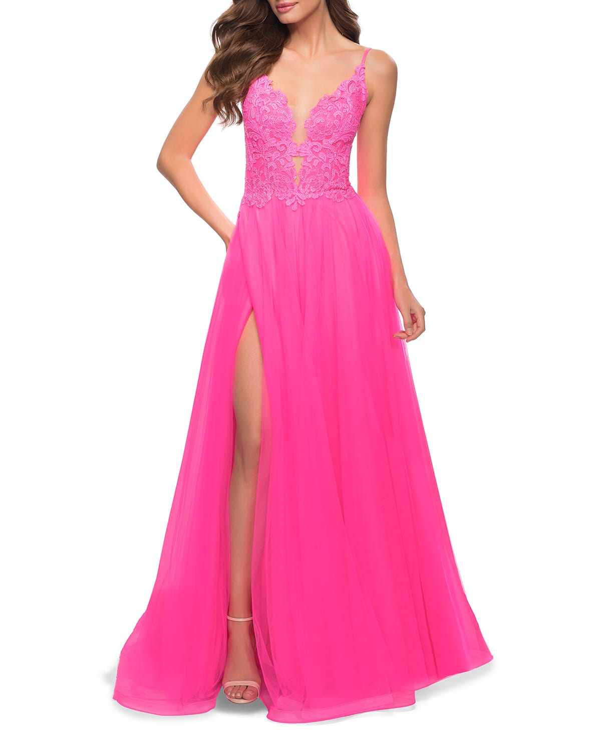 Lace Applique Sleeveless Tulle A-Line Gown