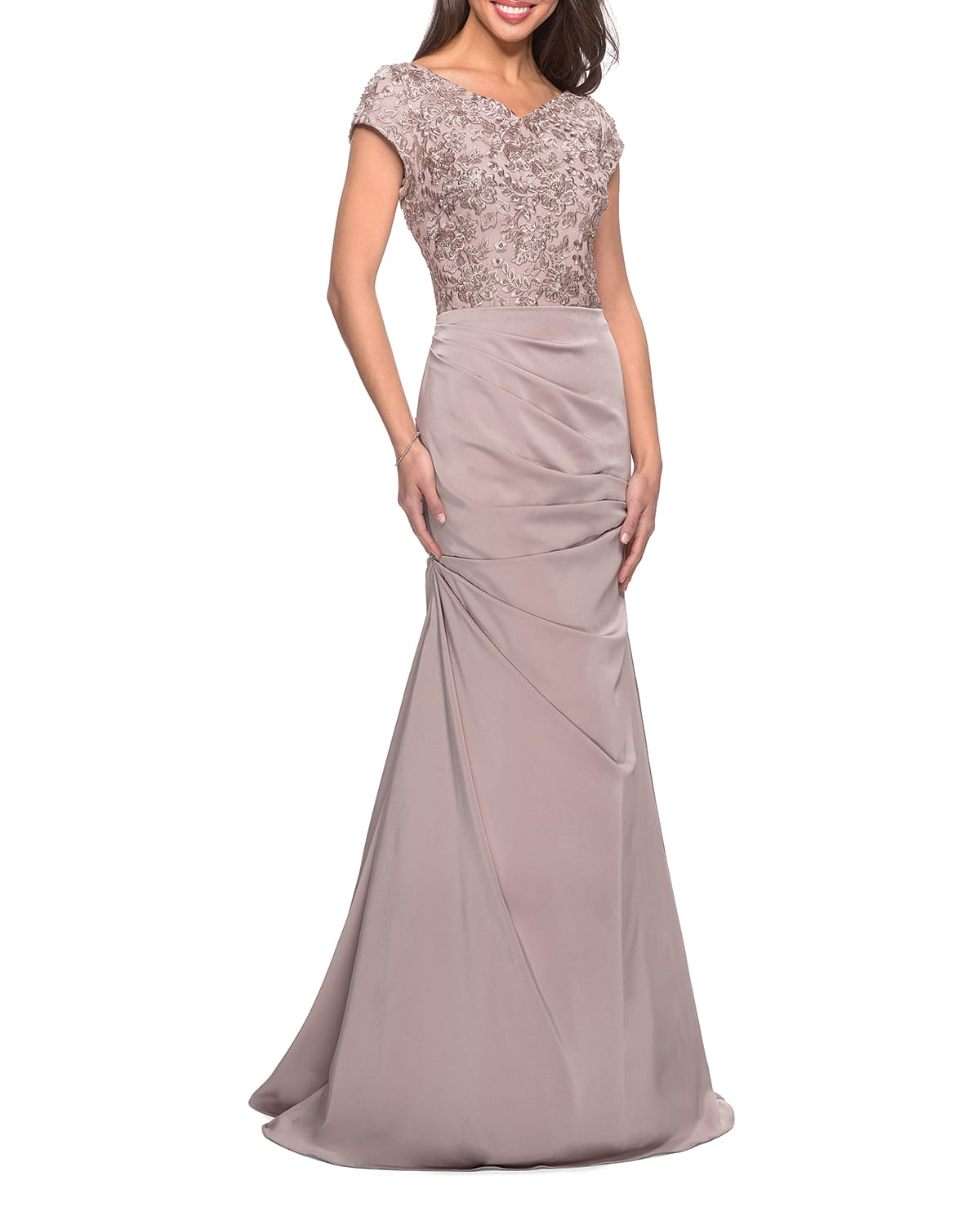 Embroidered Bodice Ruched Trumpet Gown