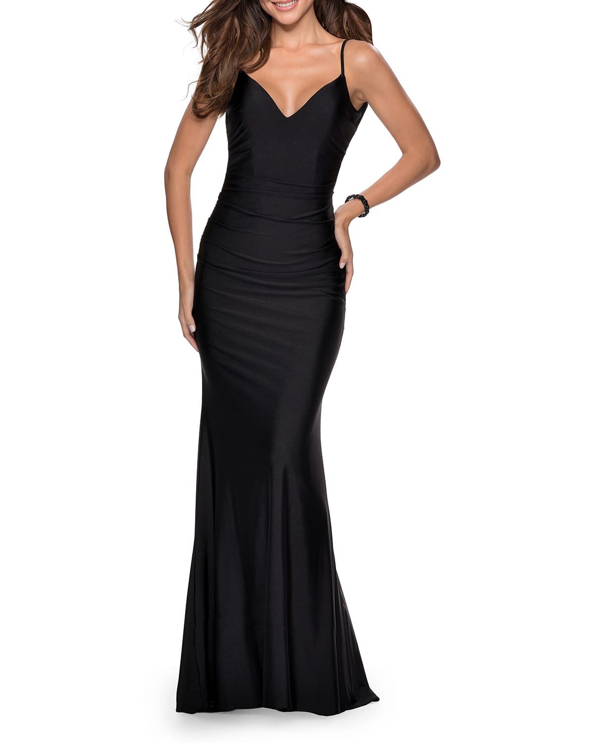 V-Neck Open-Back Jersey Gown