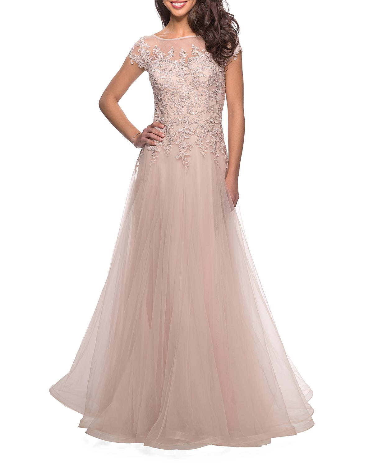 Cap-Sleeve Tulle A-Line Gown