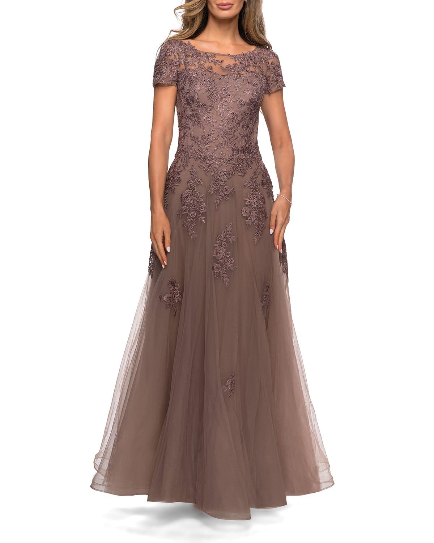 Floral Lace Applique Tulle A-Line Gown