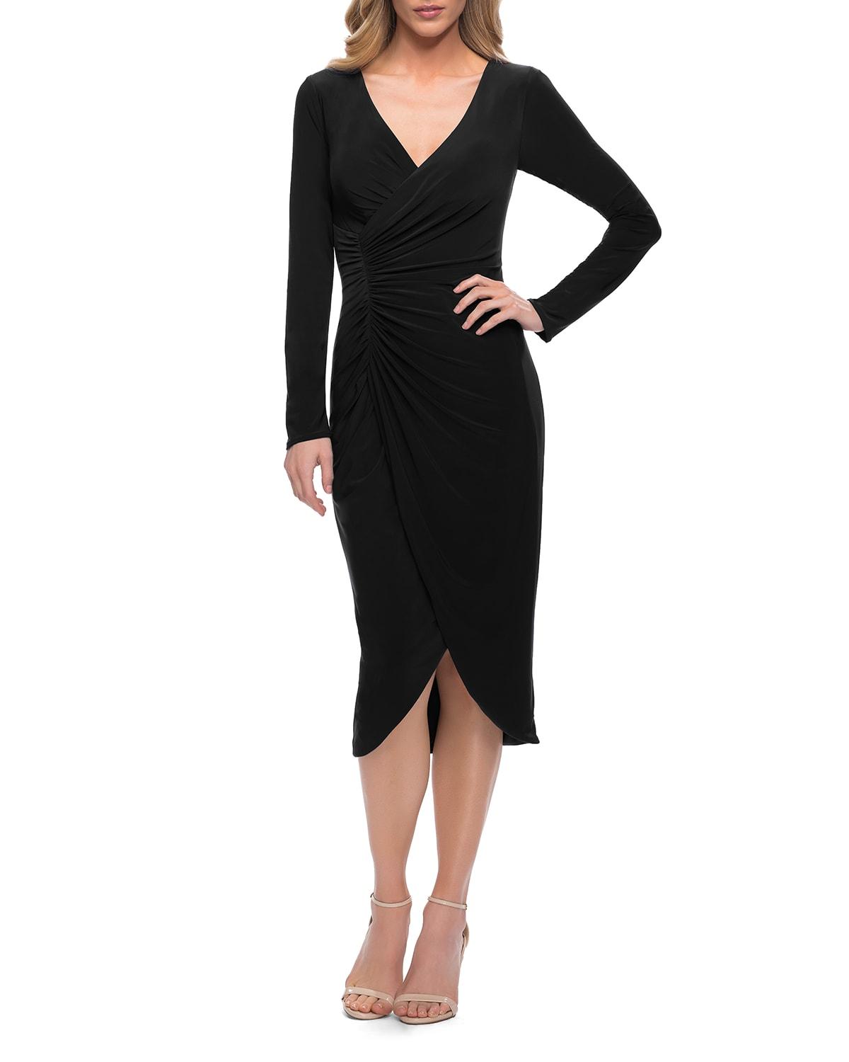 Long-Sleeve Faux-Wrap Ruched Jersey Dress