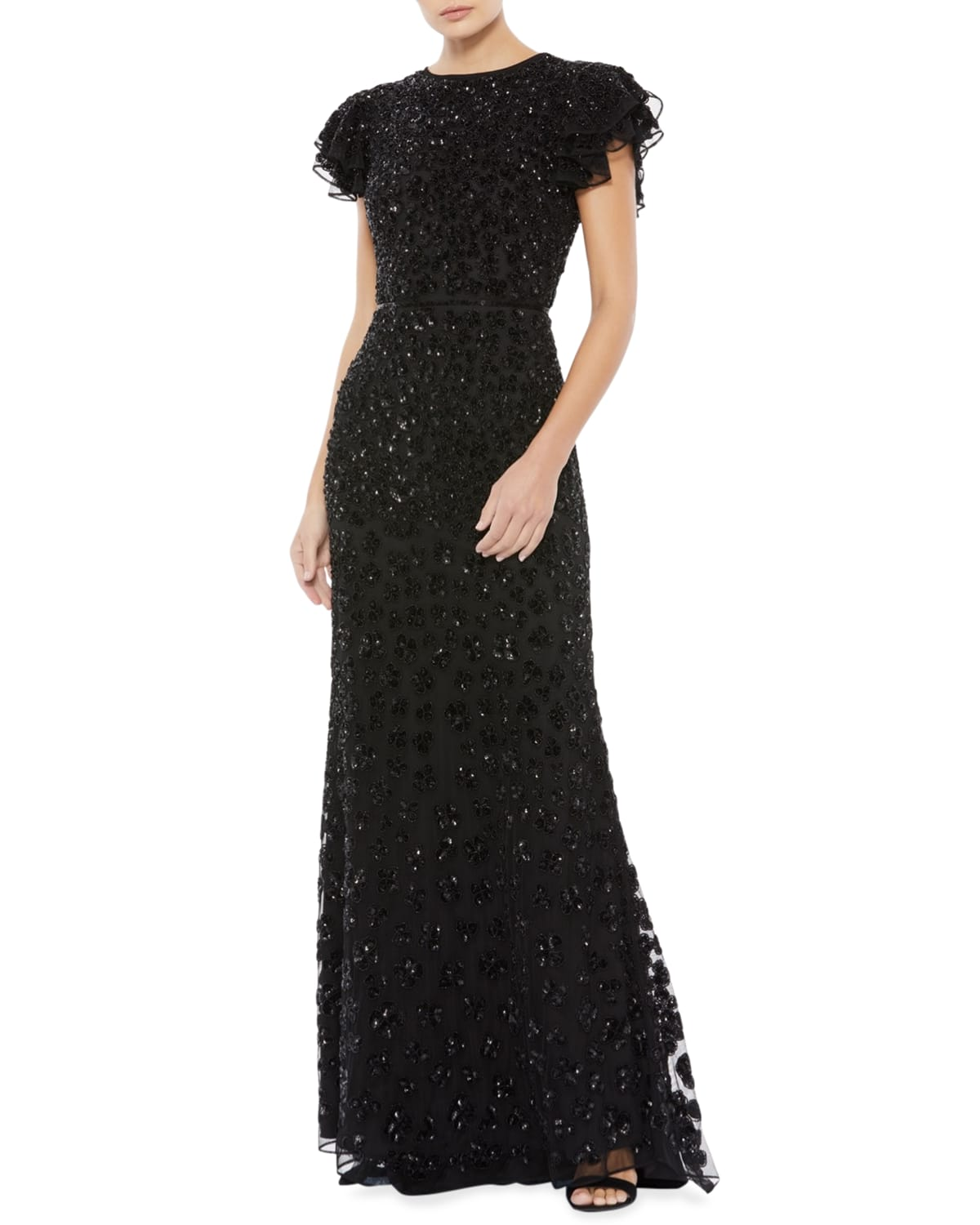 Butterfly-Sleeve Floral Sequin Gown