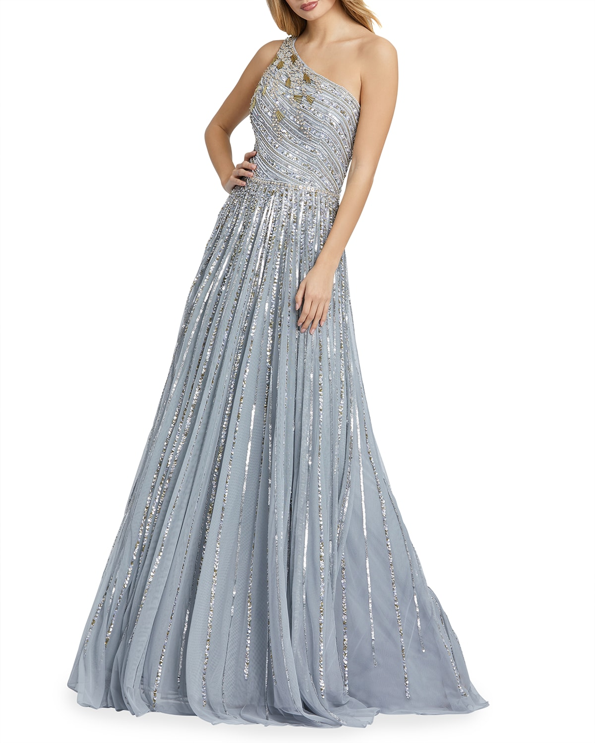 One-Shoulder Sequined A-Line Gown
