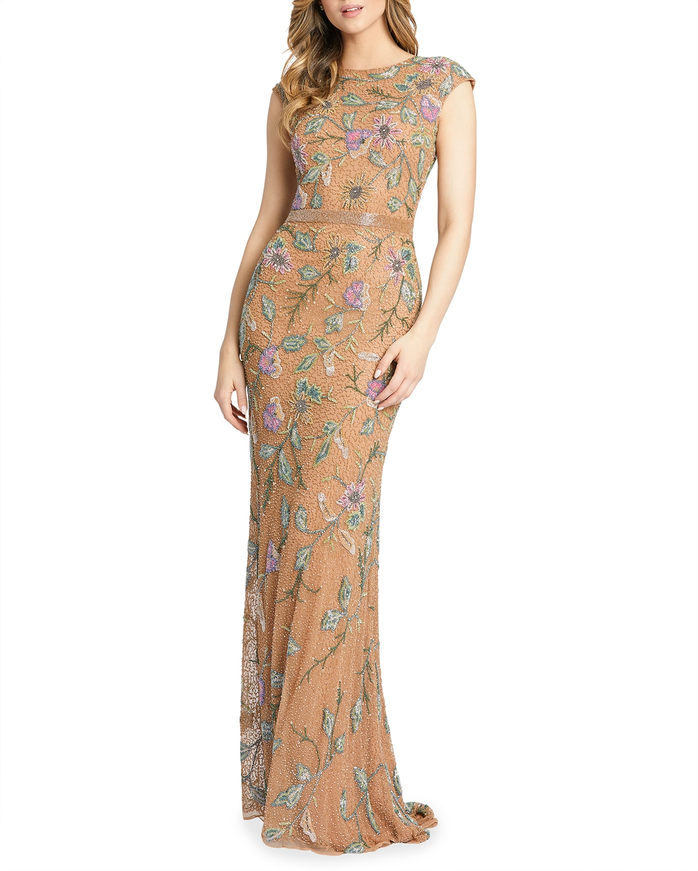 Floral Bugle Beaded Cap-Sleeve Column Gown