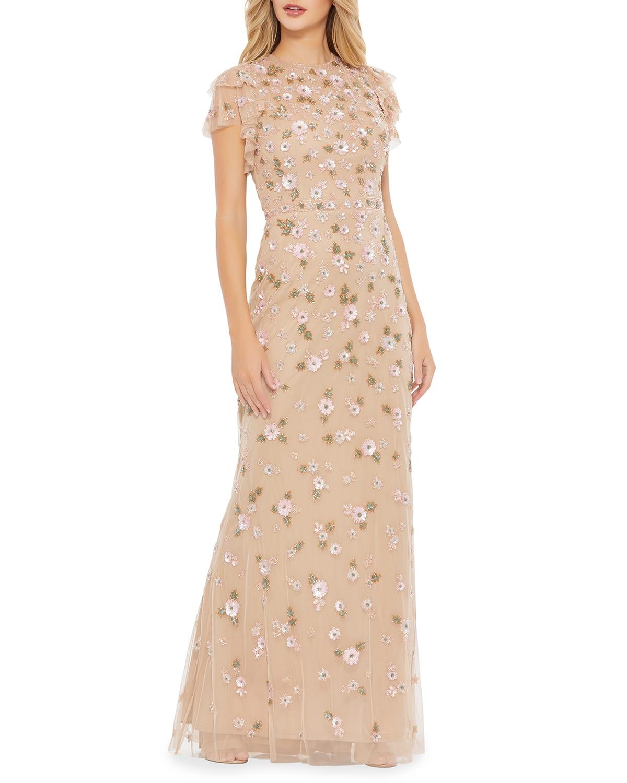 Ruffle-Sleeve Floral Applique Column Gown