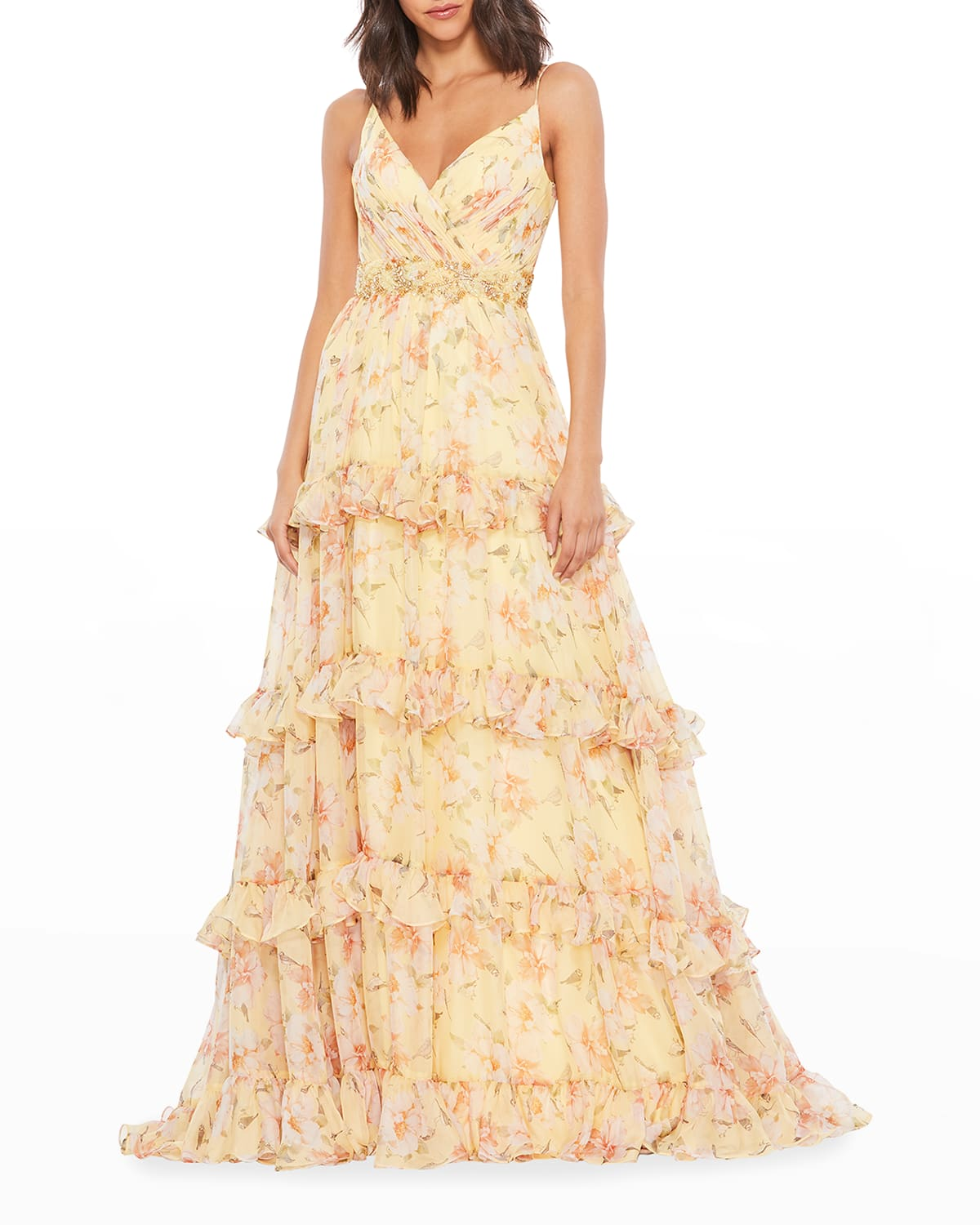 Floral-Print Ruffle-Tiered A-Line Gown