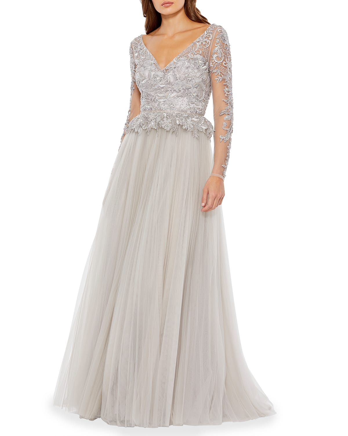 Long-Sleeve Illusion Embellished Tulle A-Line Gown