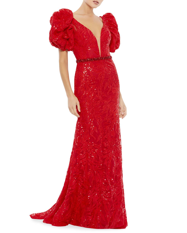 Rosette-Shoulder Plunging Column Gown