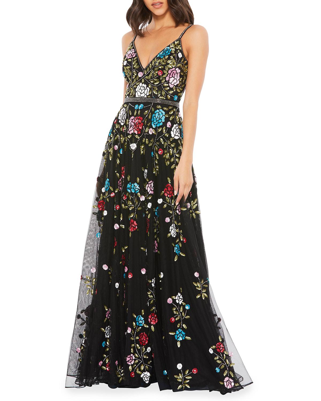 Sequin Floral Embellished A-Line Gown