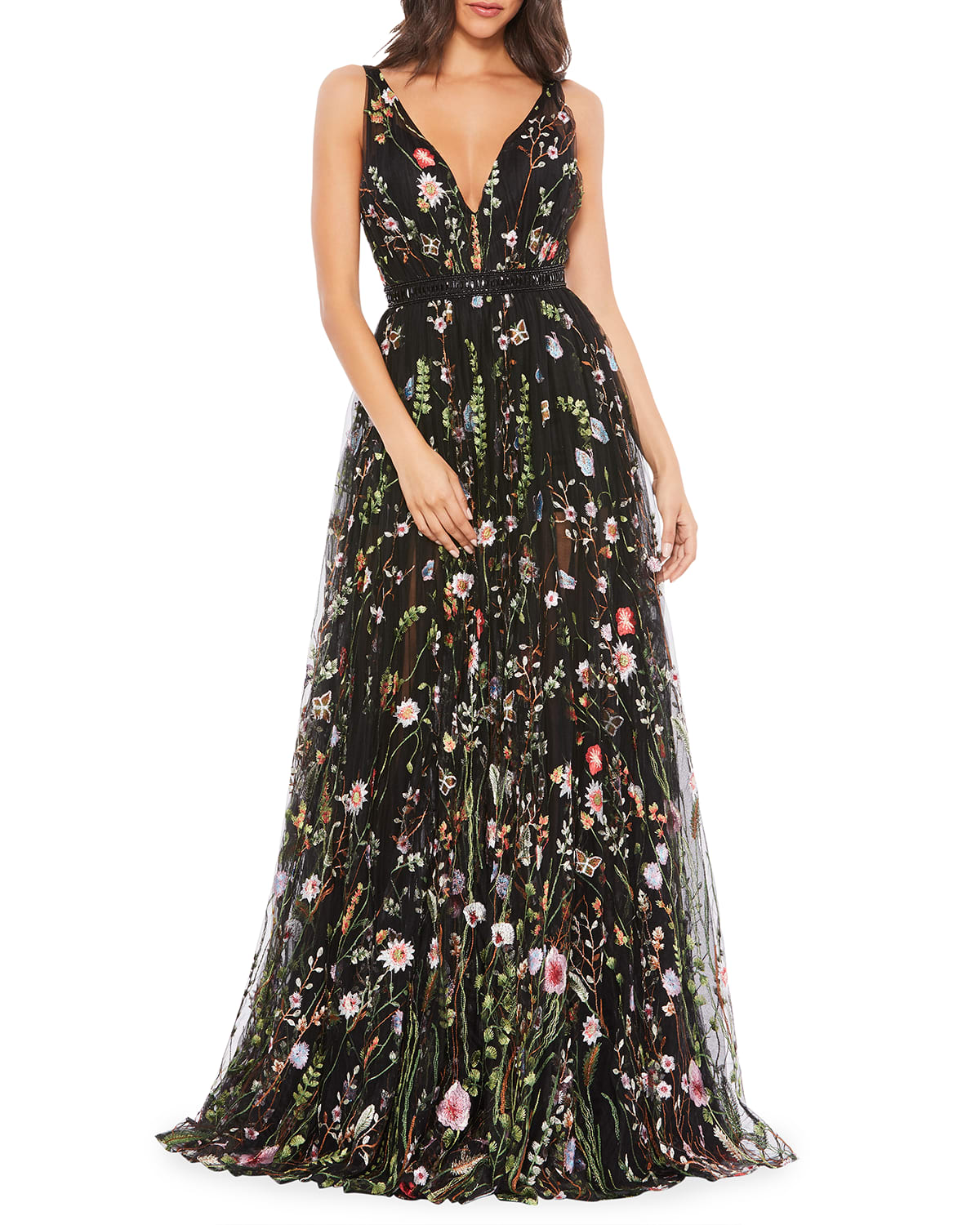 Floral Embroidered Plunging A-Line Gown