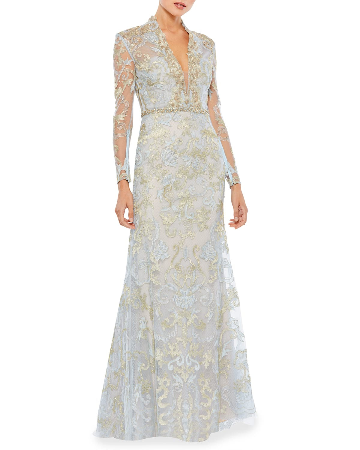 Long-Sleeve Queen-Anne Embellished Gown