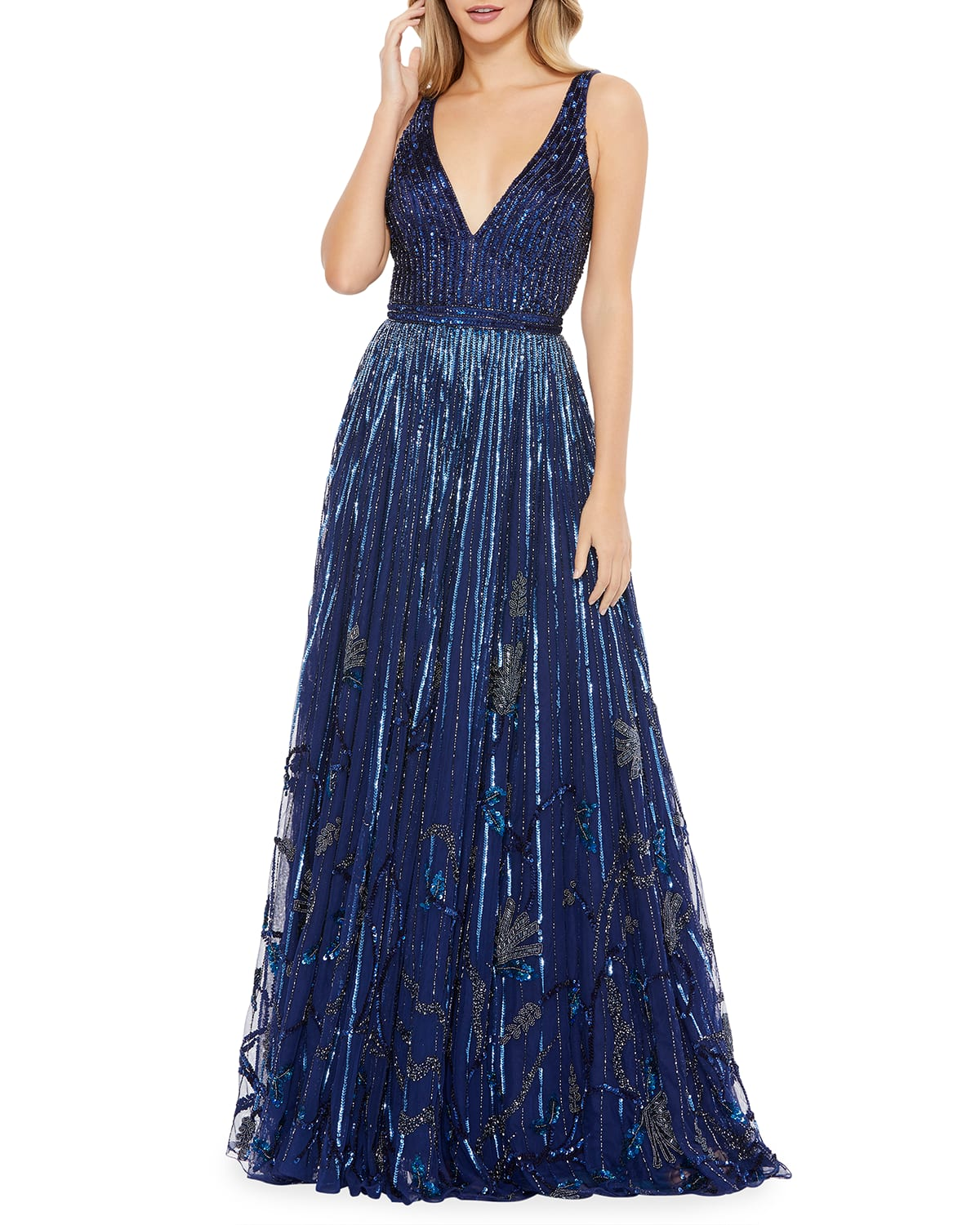 Sequin Floral Beaded Sleeveless A-Line Gown