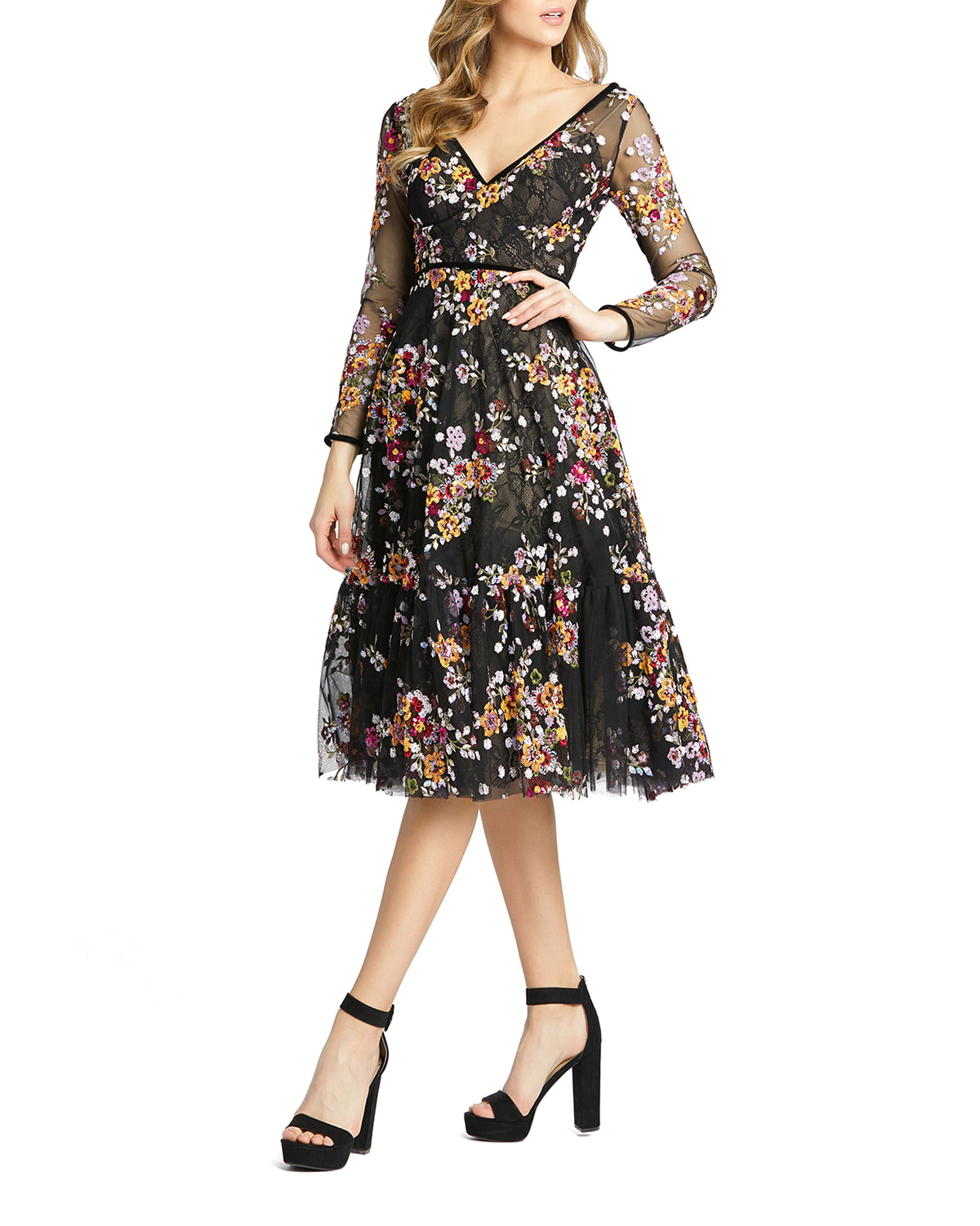 Sequined Floral Lace Long-Sleeve Illusion Dress