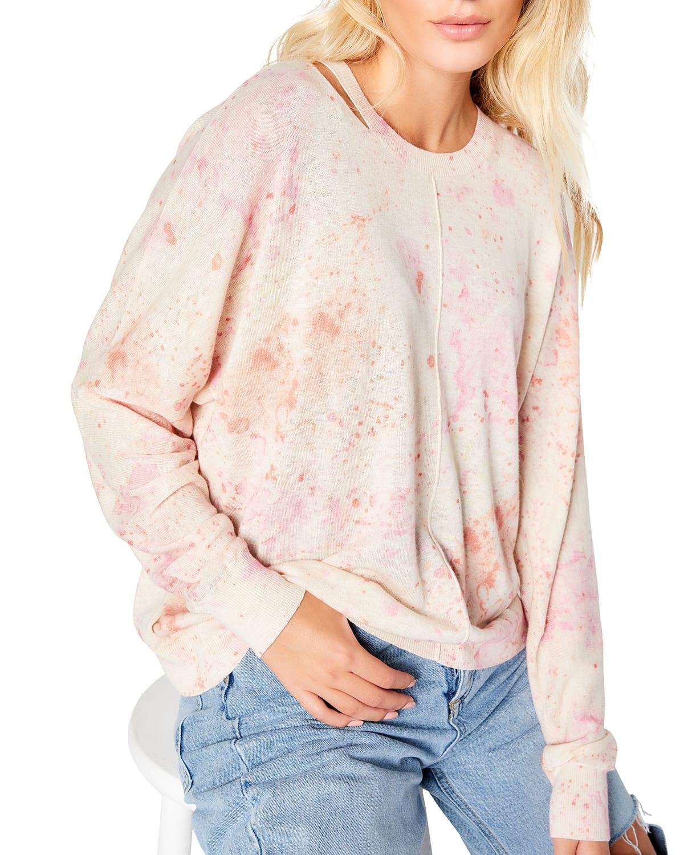 High Tide Neck Cutout Splatter Sweater