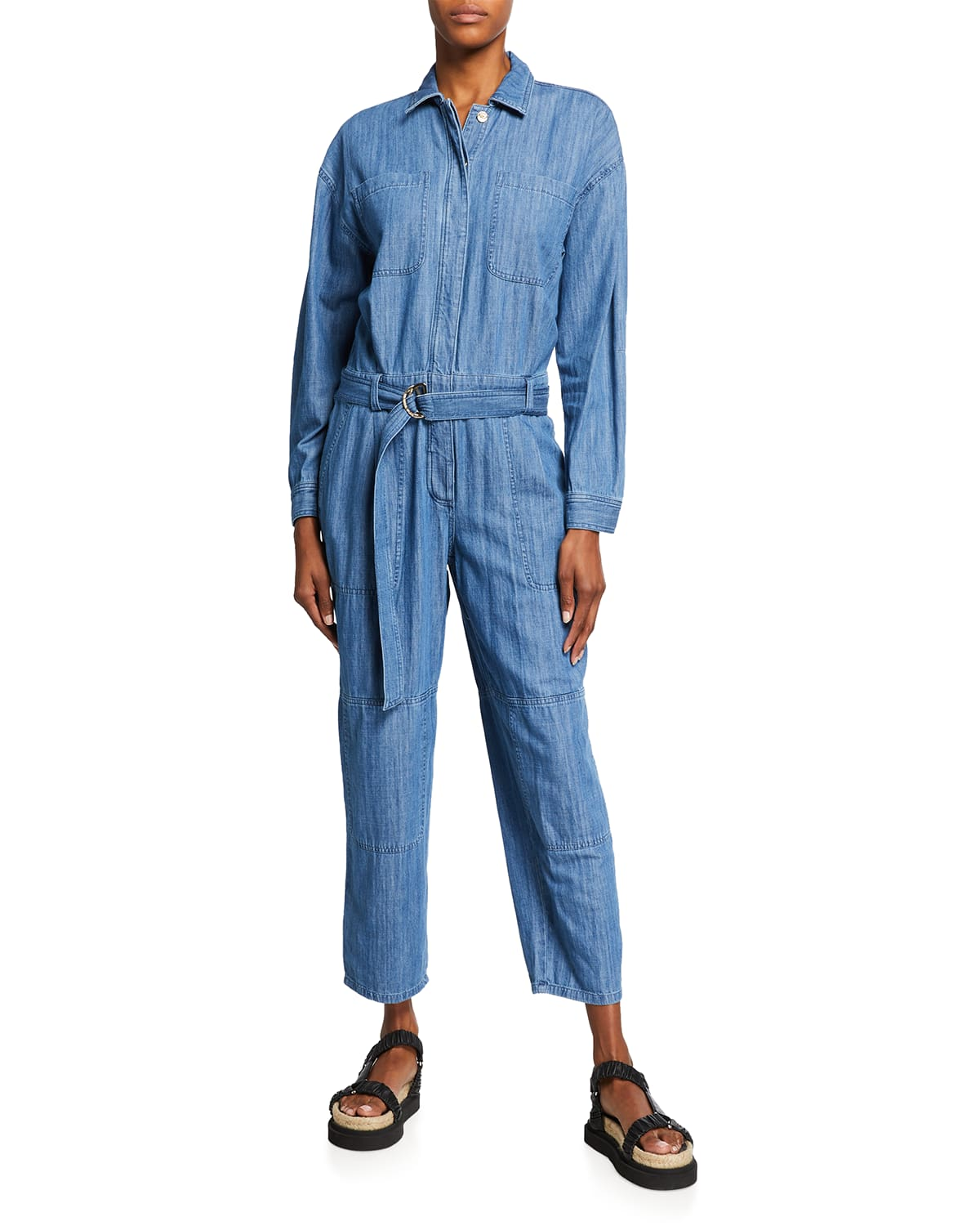 Belted Long-Sleeve Chambray Jumpsuit