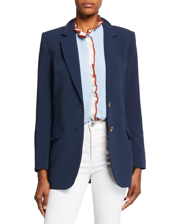 Two-Button Menswear Crepe Blazer