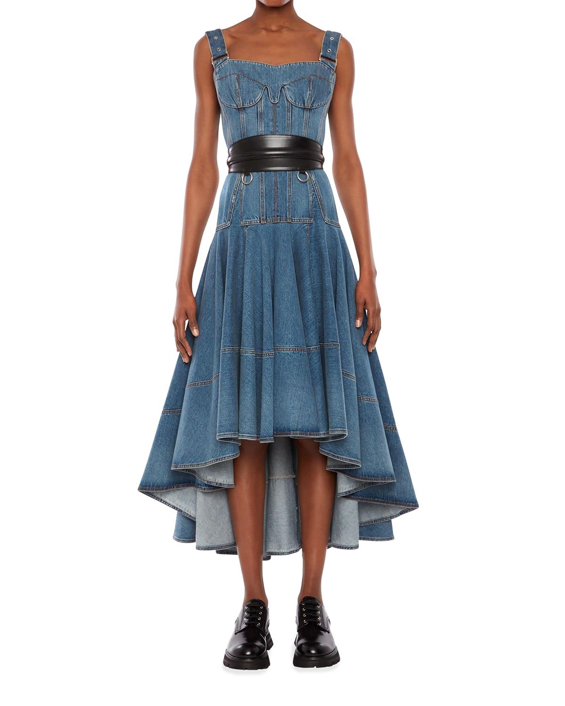 Denim Bustier High-Low Dress