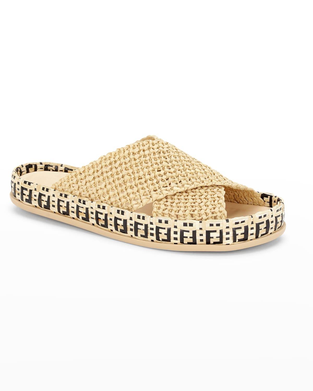 FF Woven Crisscross Slide Sandals