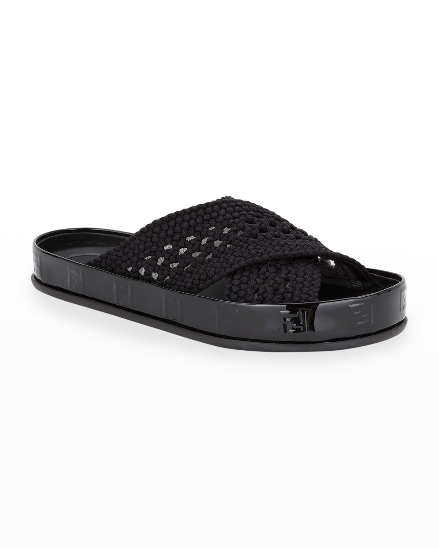 Woven Crisscross Slide Sandals