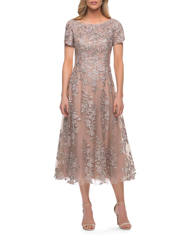 Lace Tulle Boat-Neck Tea-Length A-Line Dress