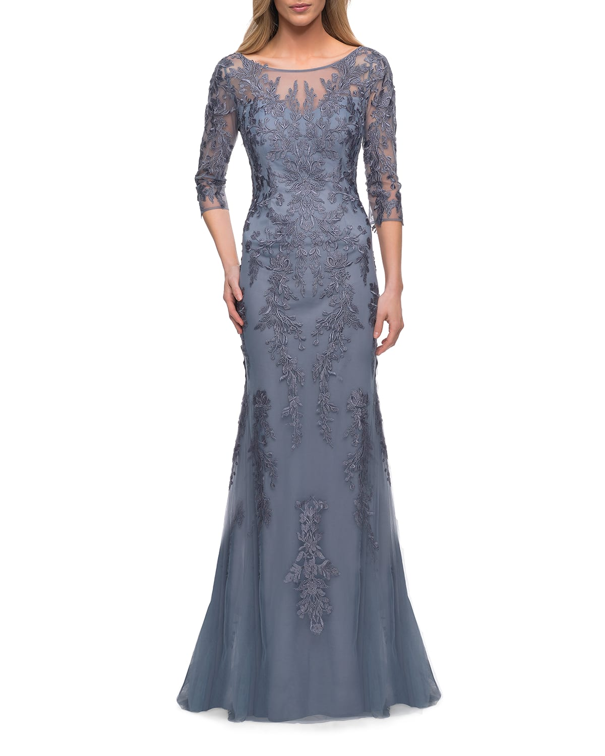 Lace 3/4-Sleeve Column Gown