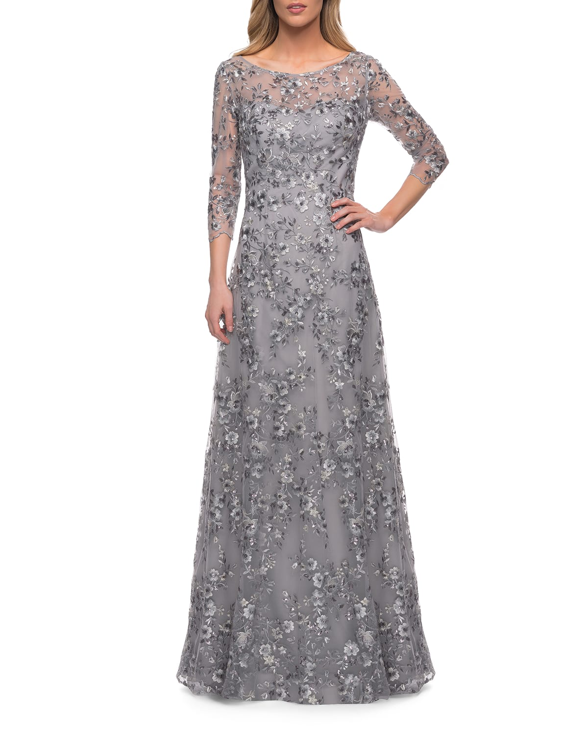 Sequined Metallic Illusion 3/4-Sleeve Gown